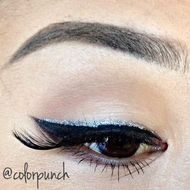 Glamorous glitter liner with #MinkEyelashes  for Asian #BrownEyes, with nude and cream eyeshadow. Note how the #AsianEyes stand out. Get a fabulous set of 100% cruelty free mink eyelashes from MinkiLashes.