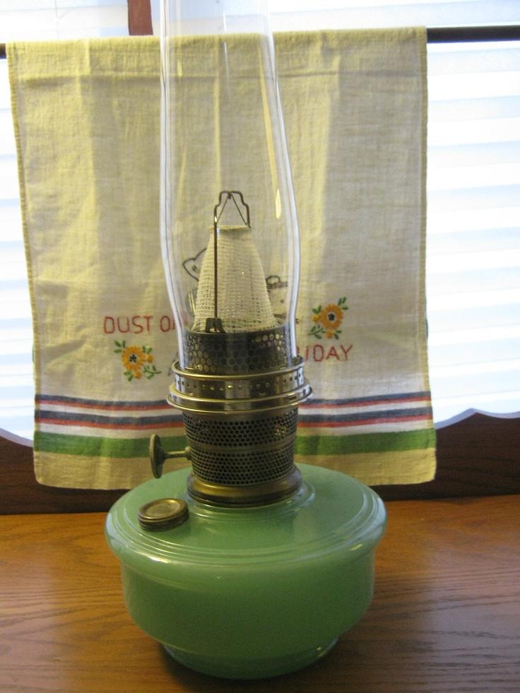 Vintage aladdin oil lamp green moonstone jadite green by boopsie53
