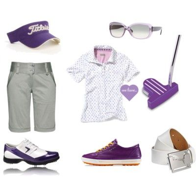 Women's golfing #fashion in purple. Looks like that is the color of the season! #fall #golf