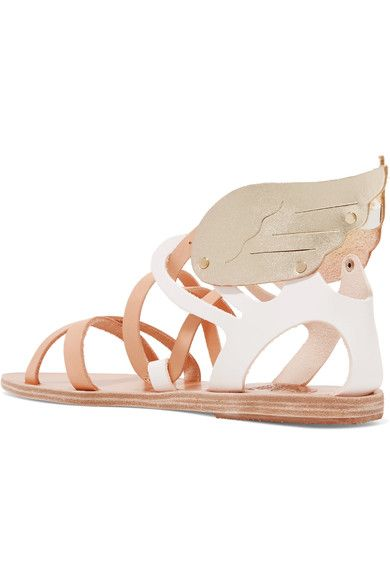 Ancient Greek Sandals - Nephele Metallic-trimmed Leather Wing Sandals - IT40