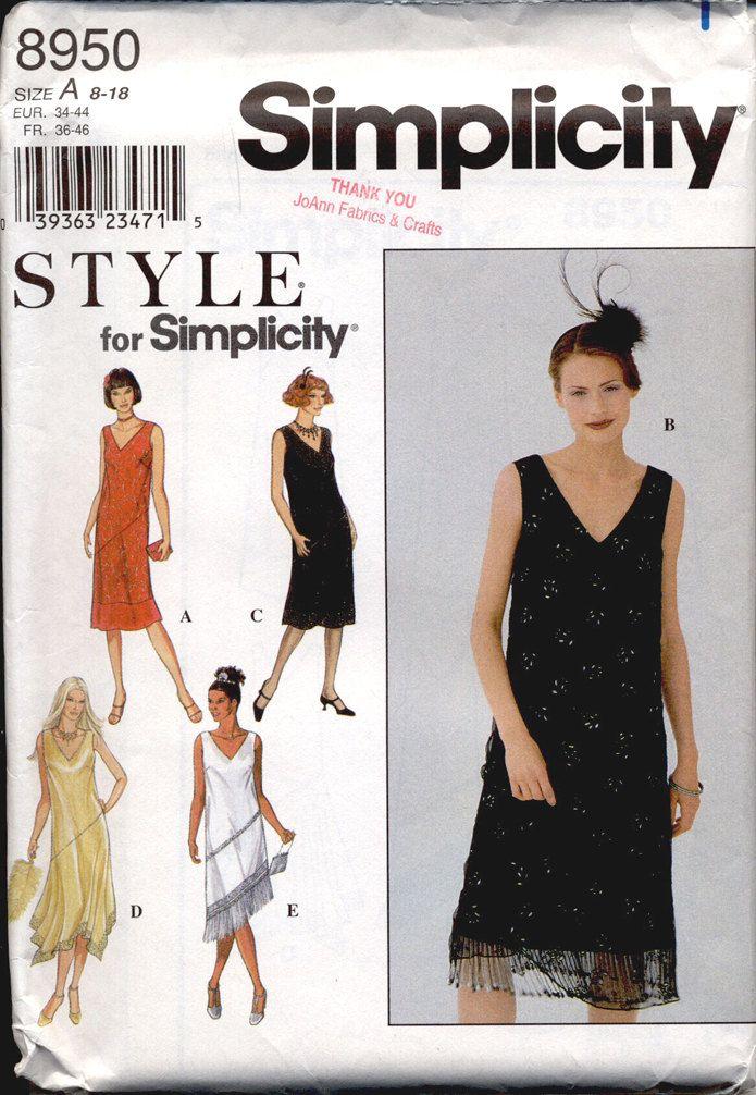 Simplicity 8950 Misses 1920s Fringed Flapper Dress Vintage ...