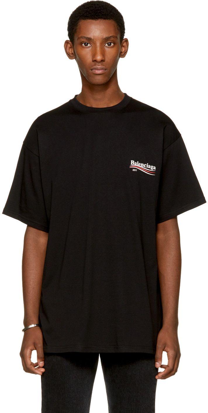 BALENCIAGA Black Campaign Logo T-Shirt. #balenciaga #cloth #t-shirt