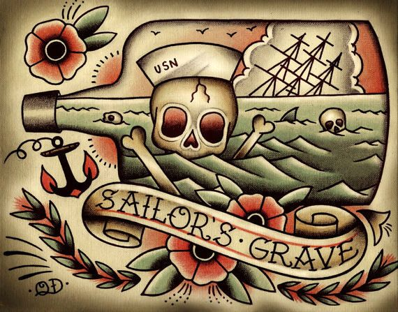 Mort par mer tattoo print artworks acrylics and barbers for Back mural tattoo designs
