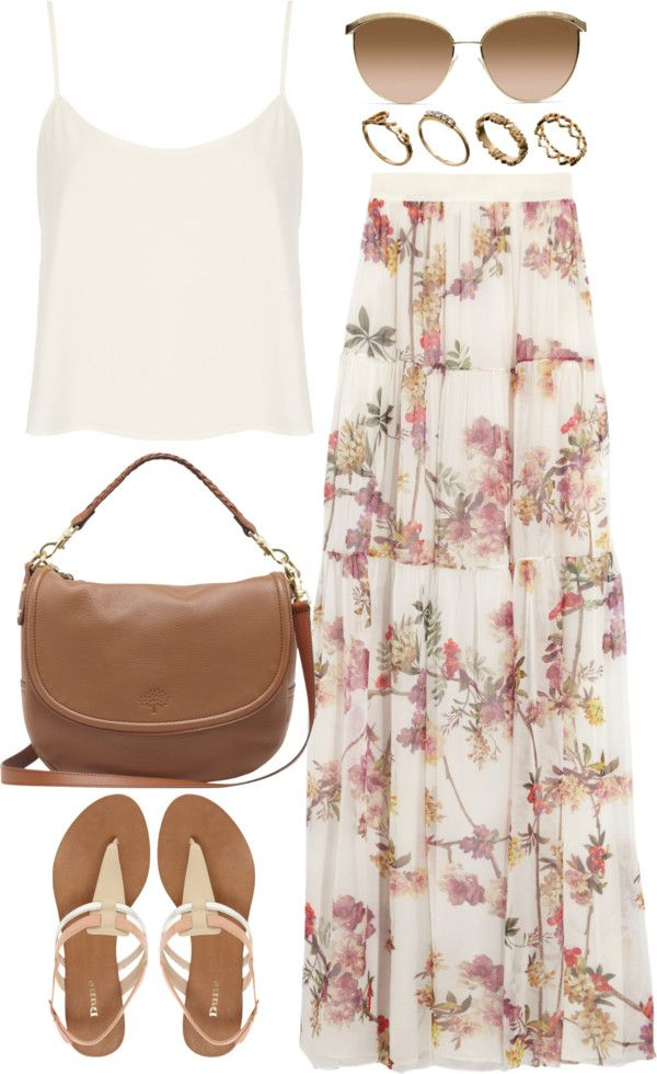 Easy white tank and floral maxi skirt ❤️