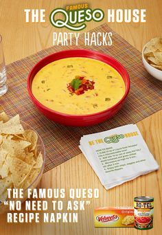 "When you make delicious Famous Queso, it's guaranteed to be the center of your party and the delicious recipe everyone is talking about! Just let these handy DIY Famous Queso napkins do the talking for you: ""Mix the one-two kick of RO*TEL's diced tomatoes and spicy green chilies with Liquid Gold Velveeta."" There, wasn't that easy? Get more fun ideas at www.quesoforall.com"