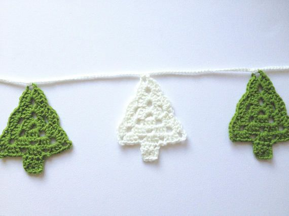Christmas Garland Crochet Bunting Christmas Tree Banner Christmas Bunting Crochet Bunting Bunting
