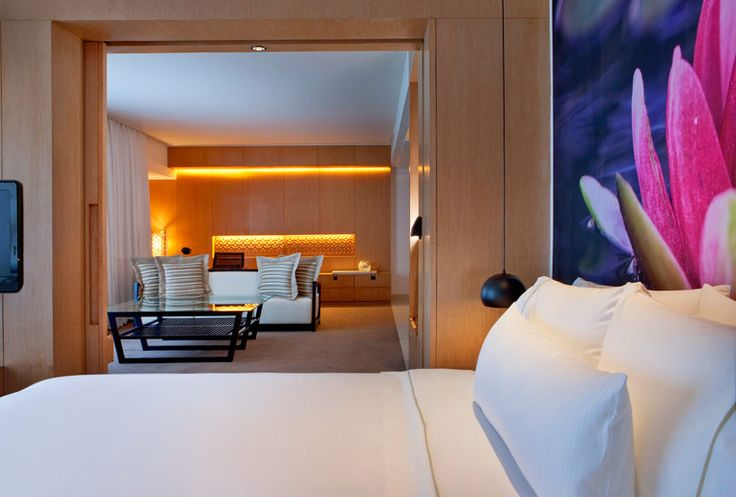 Executive Suite at the Westin Hyderabad featuring custom digitally printed bedheads and acoustic wall panels #materialisedfabrics #fabricsfortherealworld #performancefabrics #hoteldesign #acousticsolutions