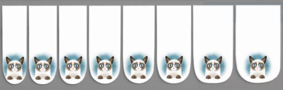 Curious Siamese Kitten Minx ® Nail Art. Smiling, blue-eyed fluffy siamese cat with blue background.