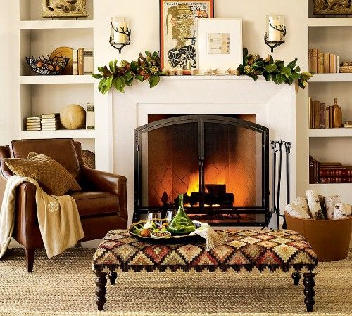 WONderful ottomanFireplaces Mantels, Decor Ideas, Fall Decor, Fall Mantels, Decorating Ideas, Living Room,  Fireguard, Fire Screens, Leather Chairs