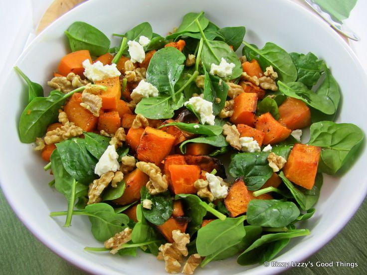 Roast Pumpkin, Baby Spinach, Walnut & Fetta Salad   Read more: http://www.bizzylizzysgoodthings.com/2/post/2012/08/roast-pumpkin-baby-spinach-walnut-fetta-salad-with-rack-of-lamb.html#ixzz2dVd5ieGw