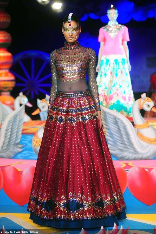 Red and blue lengha by Manish Arora at Delhi Couture Week 2013.