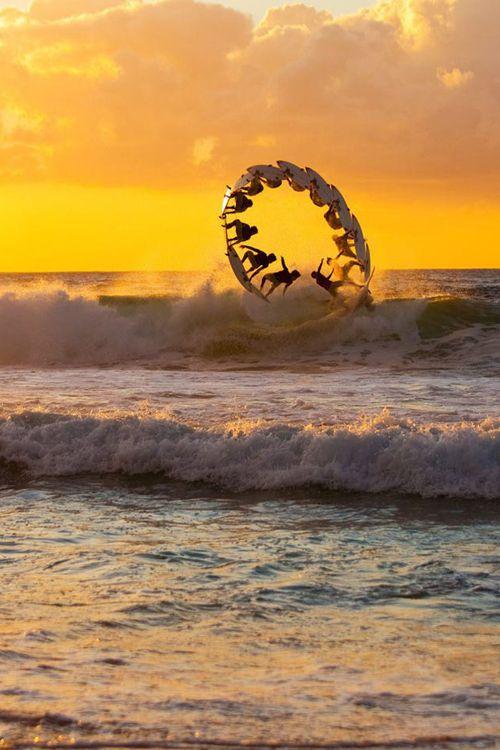 ♂ Sequence Shot Of Surfer, Hawaii sunset ocean