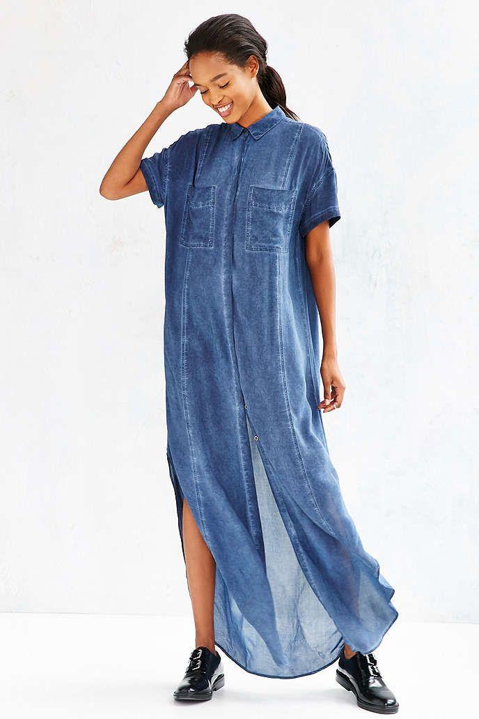 Silence + Noise Casper Maxi Shirt Dress - Urban Outfitters