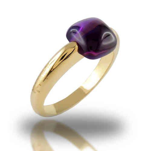 Anello con pietra  Viola Ametista oro giallo 18K