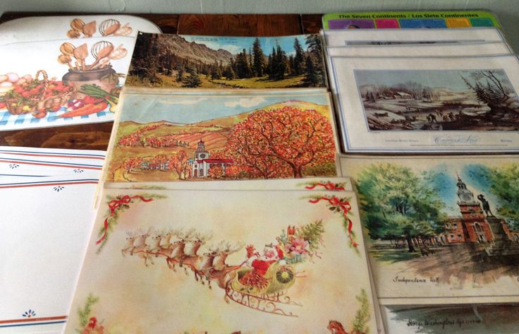 Retro Lot of 21 Plastic Coated Placemats Eclectic (Currier & Ives, Holiday, Seasons, etc.) Mid Century MidCentury Table Setting Decor Kitsch by Piklandia on Etsy
