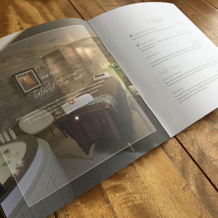 Spa Treatment Menu for the Headland Hotel #HeadlandHotel #Newquay #Cornwall #HotelMarketing #Print #Design #MarketingCollateral #creative #menu #spa #treatments #massages #imagery