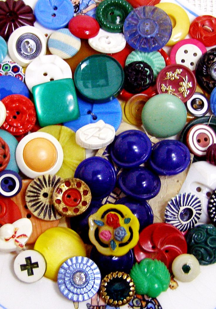Colorful vintage buttons.