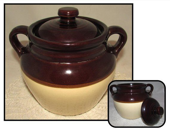 Vintage Two Tone Brown Double Handle Stoneware Pottery Crock Etsy Stoneware Stoneware Crocks Stoneware Pottery