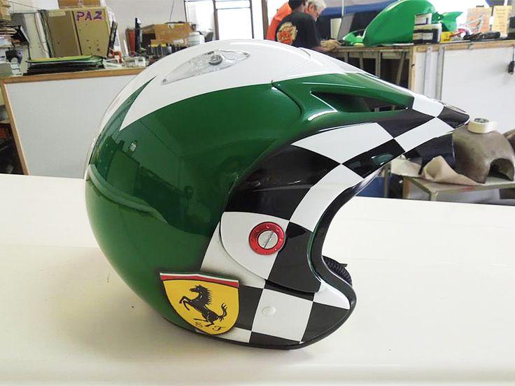 Ferrari replica custom helmet painted by PAZ.
