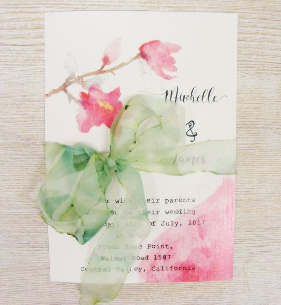 Botanical Wild Rose Invitationwith watercolor by HandMadeowo