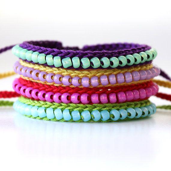 Custom Listing, Crocheted Beaded Friendship Bracelet