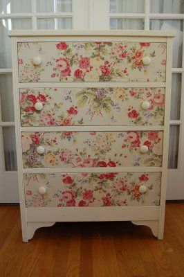 DIY:  Dresser Facelift Tutorial - using fabric, fusible web & glue.