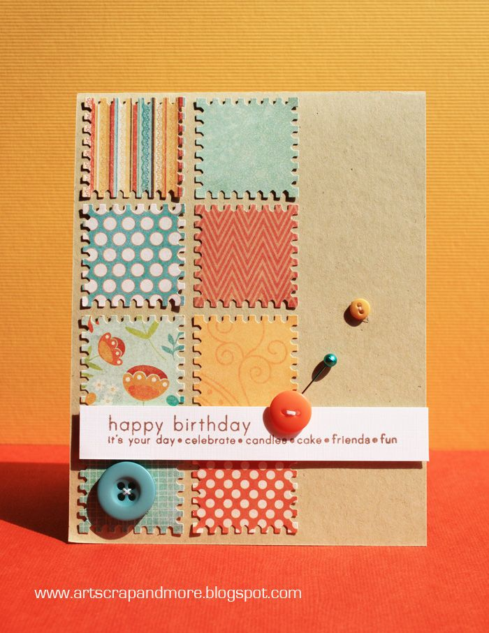 Another great way to use paper scraps for a great handmade birthday card.  This punch shaped like a postage stamp makes for a great look.