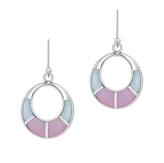 Tuscany Silver Silver Damen-Ohrringe Pink & Blue Mother of Pearl Round Drop