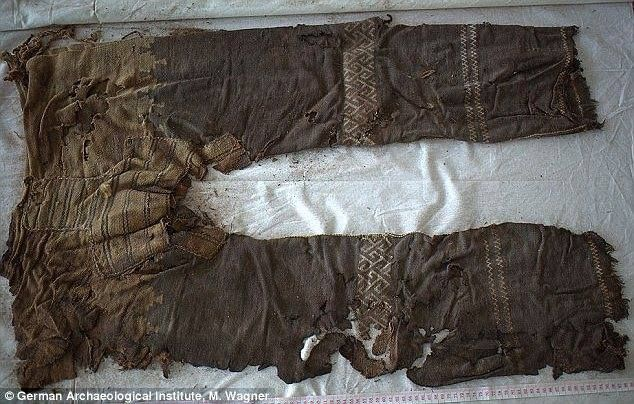 Trousers dated from between the 13th-10th C. -BCE-.  Separate panel thru the crotch and tubular legs.  http://www.sciencedirect.com/science/article/pii/S1040618214002808