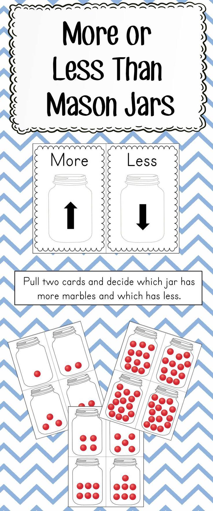 Kindergarten Math Center Game. Sort Cards Into More or Less Categories