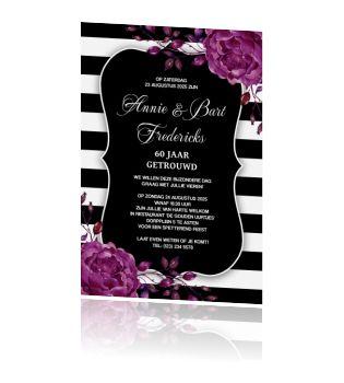 Stijlvolle jubileum uitnodiging 60 met strepen en paarse bloemen