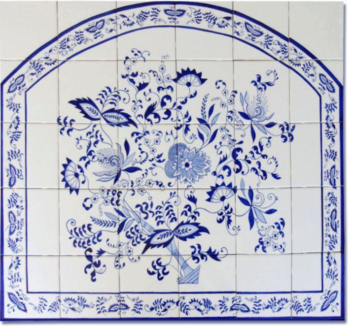 Blu cipolla disegno tile mural disegni e pitture for Delft tile mural