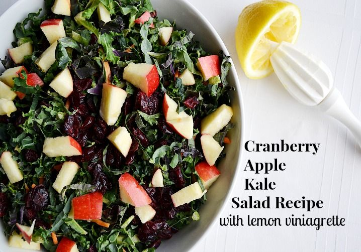 Cranberry Apple Kale Salad Recipe with Lemon Vinaigrette
