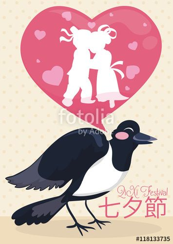 Cartoon Magpie Singing the Lovers Story in Qixi Festival
