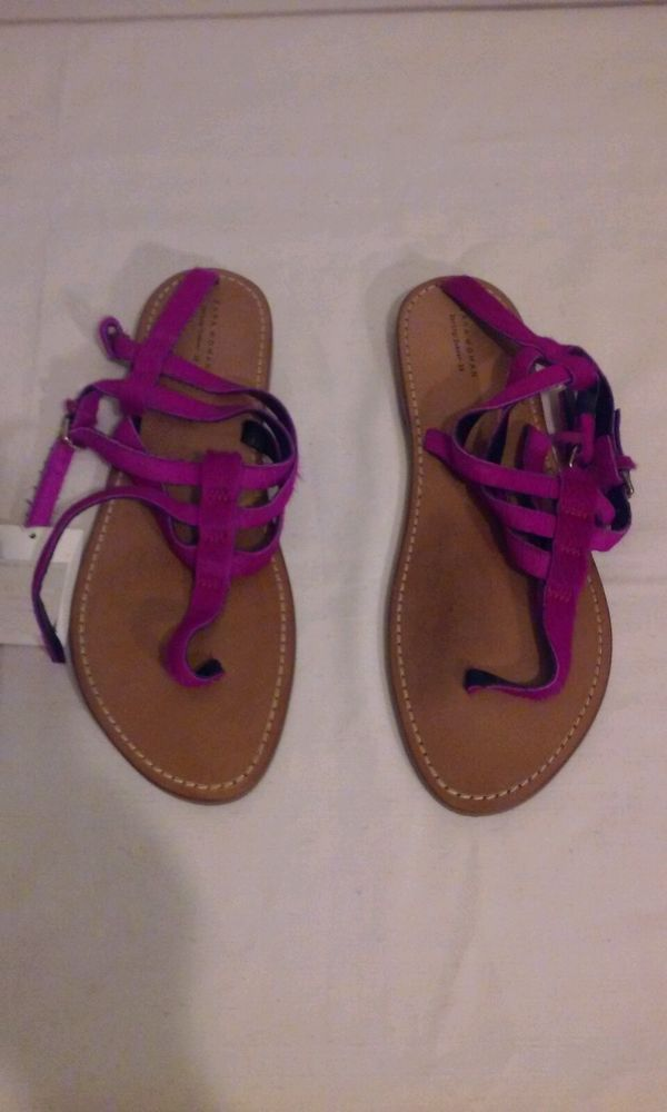 Zara Pink Leather and Calf Hair Thong Sandals- nwt  | eBay