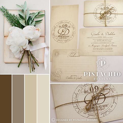 Rustic postcard wedding invitation with cord made by www.pistachiodesigns.co.za