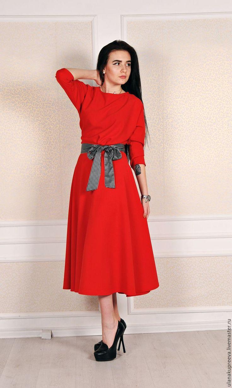 Купить скидки 50%Красное платье на поясе - платье, красное платье, платье красного цвета