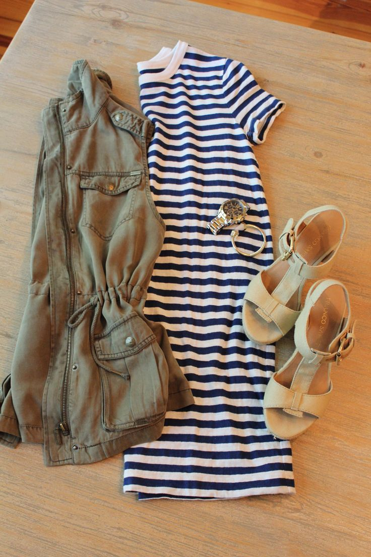 military vest with dress; striped dress; casual summer outfit