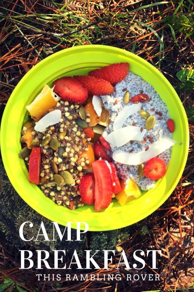 Camp Breakfast, Hike, Porridge, chia seed pudding, Buckwheat