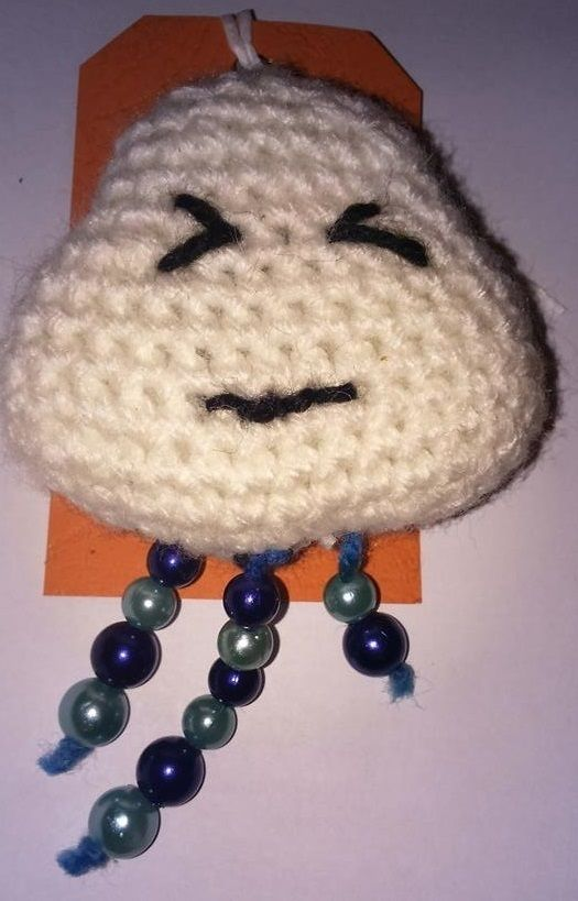hand crochet raining cloud brooch £3.00