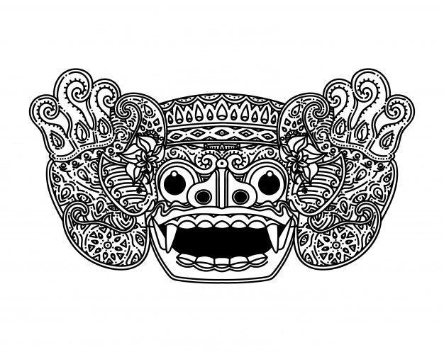 balinese barong mask illustration mask rainbow wallpaper pinterest