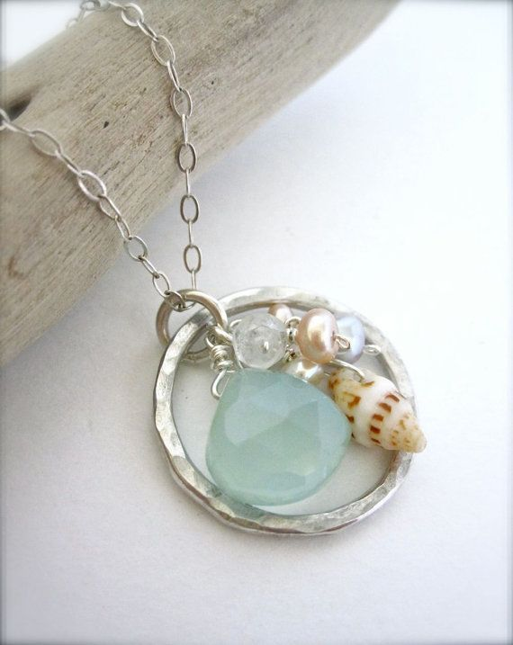 Dolphin Wave Rider  Pale Aqua Blue pendant - By The Bay Treasures $40.00                                                                                                                                                                                 More