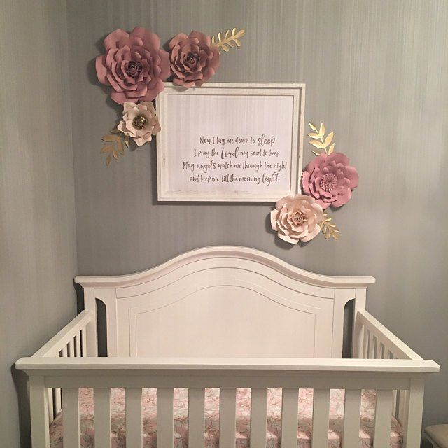 Nursery Wall Above Crib Decor Inspiration Paper Flowers In Baby