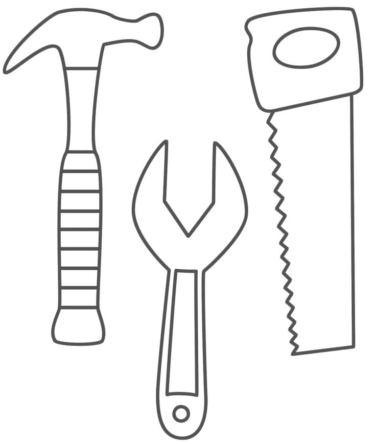 tool coloring pages Hammer, Saw and Wrench   Coloring Pages   use to make construction  tool coloring pages