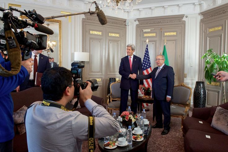 https://flic.kr/p/BxNur1 | Secretary Kerry Shakes Hands With Algerian Foreign Minister Lamamra Before Bilateral Meeting on Sidelines of COP21 Climate Change Conference in Paris | U.S. Secretary of State John Kerry shakes hands with Algerian Foreign Minister Ramtane Lamamra on December 9, 2015, in the Westin Hotel in Paris, France, before a bilateral meeting on the sidelines of the COP21 climate change conference. [State Department photo/ Public Domain]