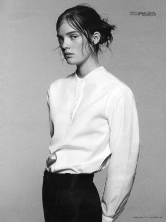 : Black Trousers, Androgynous Shoots, B Trendy Moda Fashion, Inspiration, 336 449 Pixel, Paper Magazines, White Shirts, White Collarless, Collarless Shirts