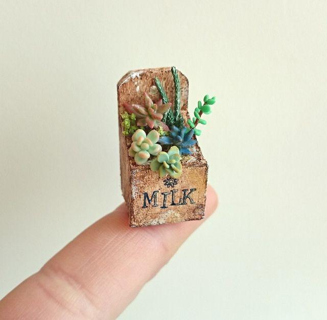 ハンドメイドマーケット+minne(ミンネ)|+miniature*牛乳ボックスの多肉寄せ植え