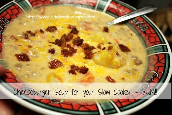 Cheeseburger Soup Recipe - Crockpot Style - Sidetracked Sarah