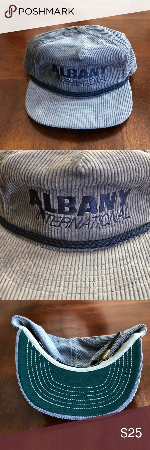Albany International Vintage corduroy hat Vintage grey and blue Albany International corduroy hat. I love the colors on this hat great retro hat. Great condition. Accessories Hats