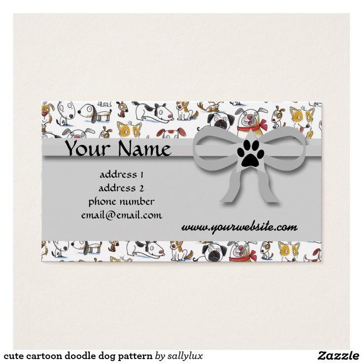 cute cartoon doodle dog pattern business card